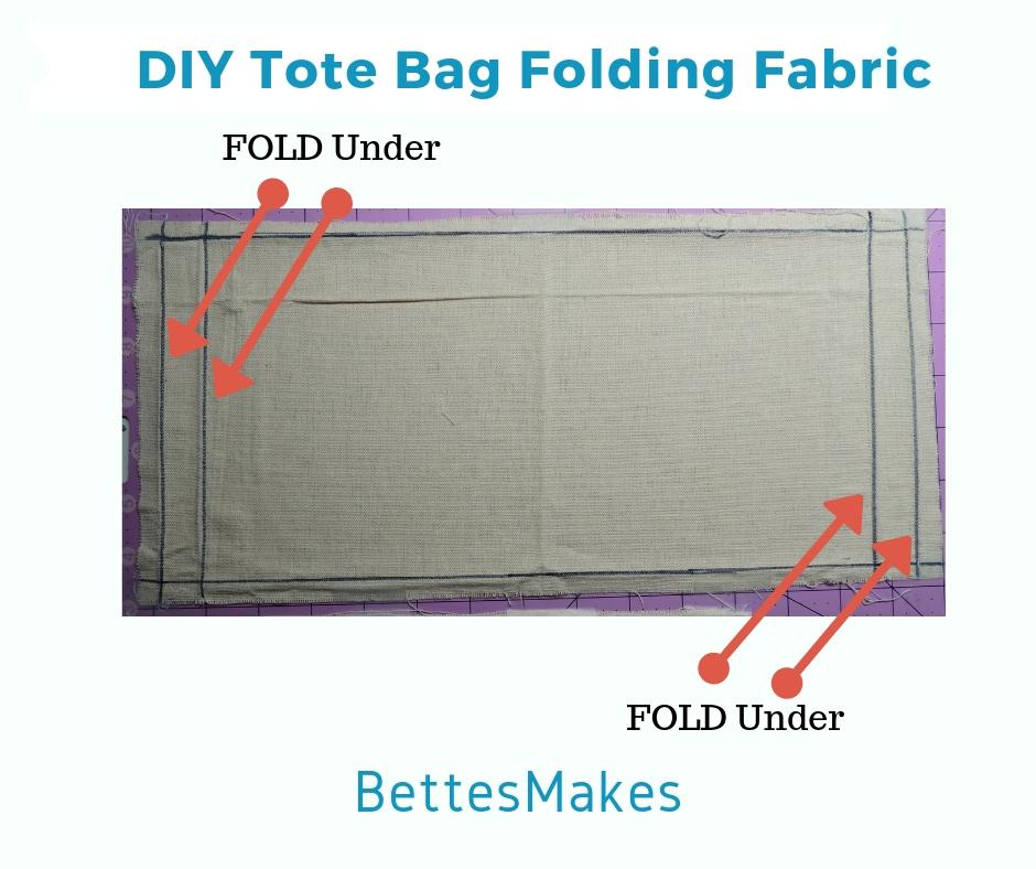 Folding top edge in a DIY Tote Bag