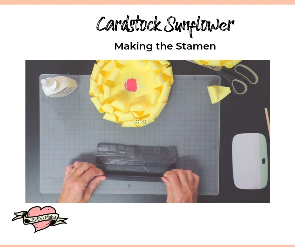 Cardstock Sunflower Making the Stamen - BettesMakes.com