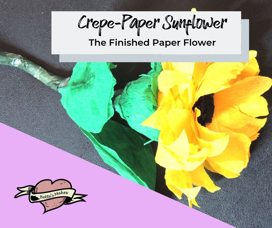 Crepe-paper sunflower - the finished project - BettesMakes.com