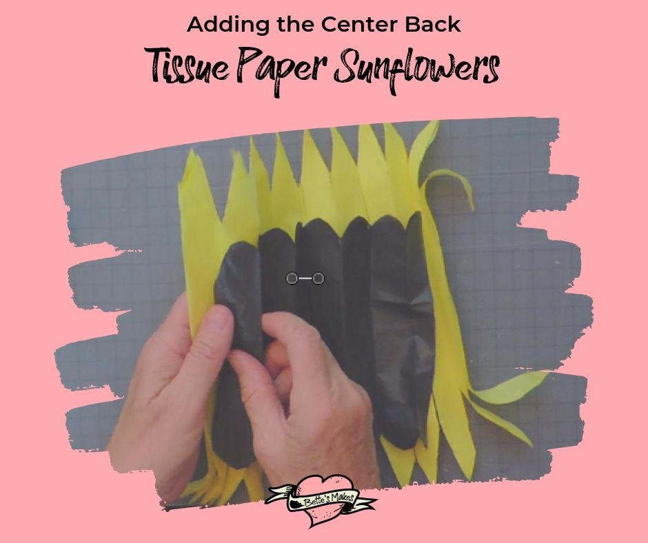 Adding the center to the tissue paper sunflower - bettesmakes.com