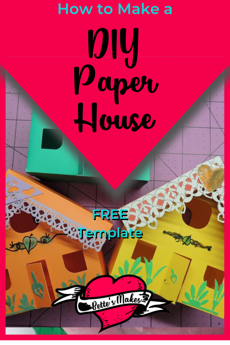 Easy to make Paper Houses using your Cricut machine for cutting the template pieces. Lots of family fun - for special occasions such as Haloween or Christmas you can change the decor! Just imagine what you can create. The template is downloadable from https://BettesMakes.com/library #cricut #cricutcraft #cricutproject #cricutidea #paperhouse #papercraft