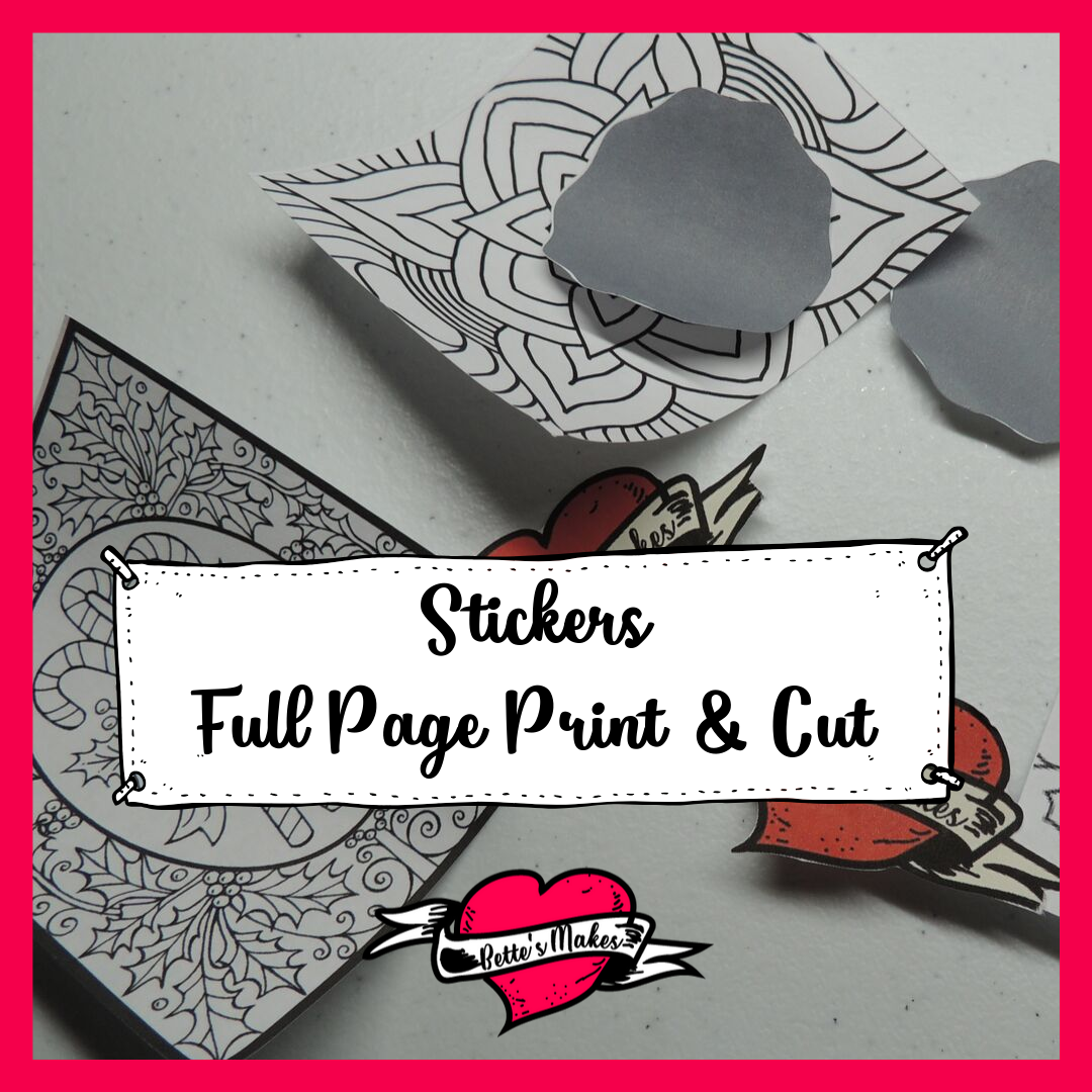 Stickers - a full page of print then cut using a few hacks along the way. Get the tutorial at bettesmakes.com #cricut #cricuthacks #papercraft