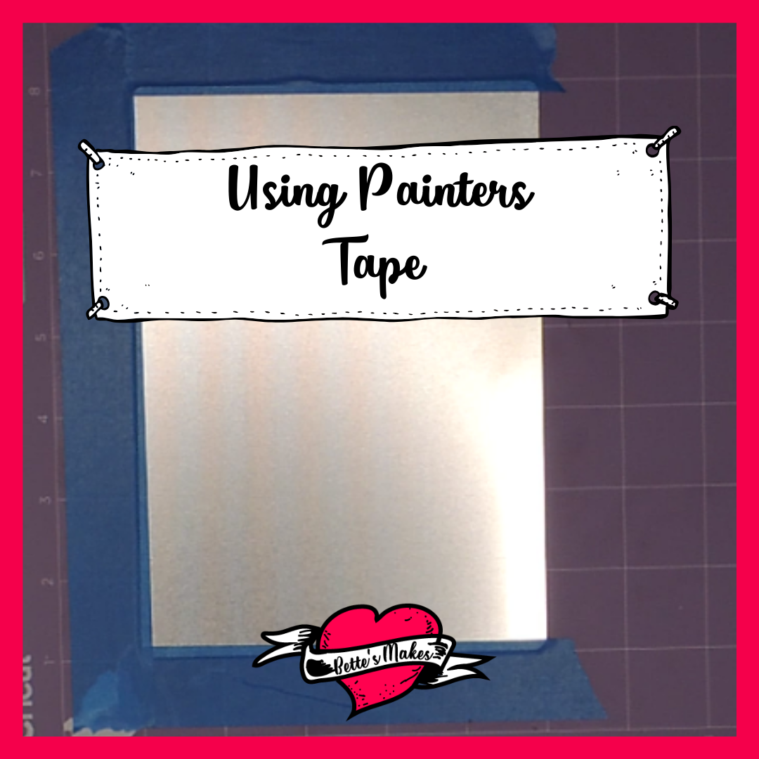 Cricut Craft: Using Painters Tape to hold the aluminum in place when engraving or etching! #cricut #cricutcraft #cricutidea #cricutproject #cricutmaker