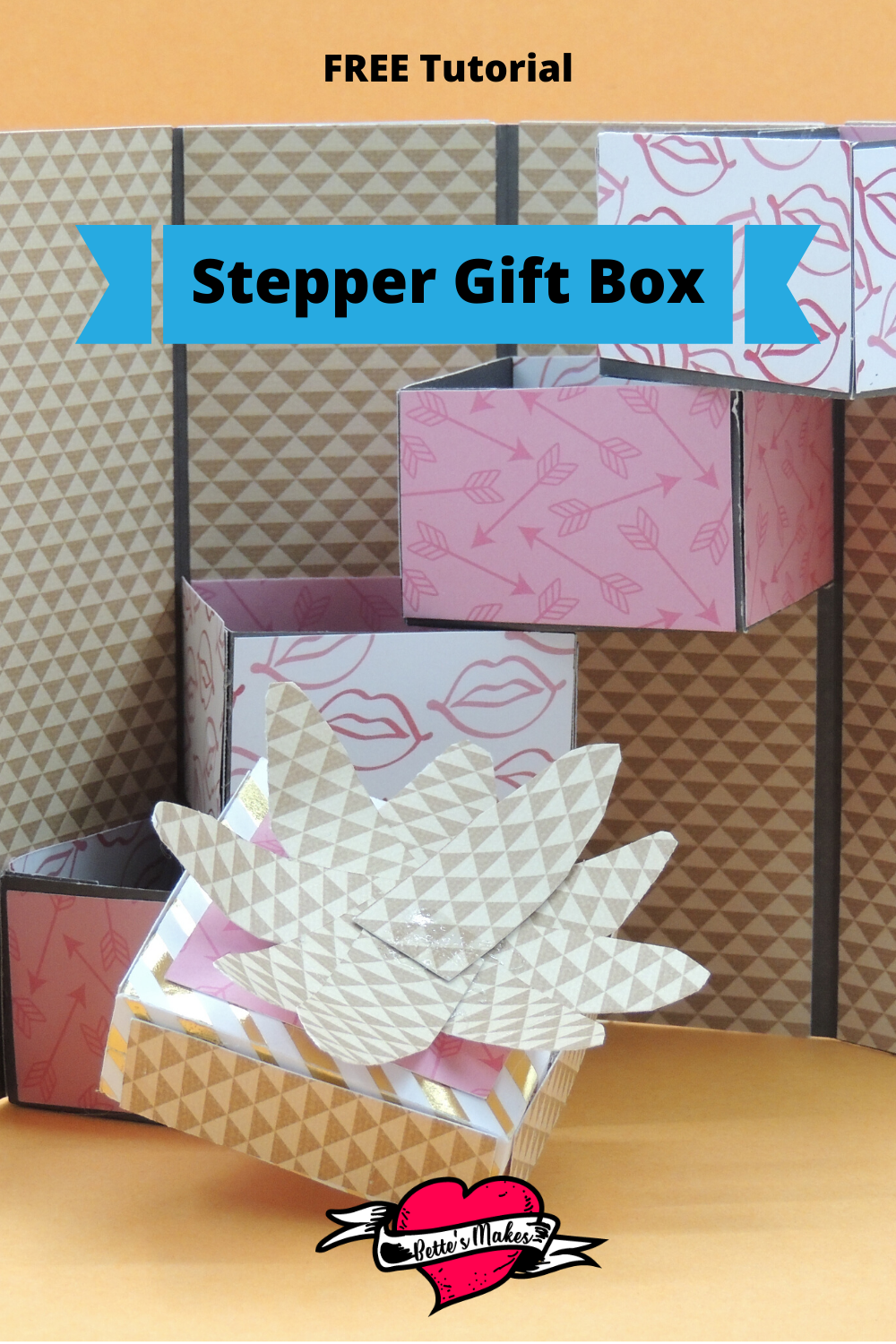 The absolutely PERFECT box for giving! You can sneak in 4 treats all in one present. Just imagine the oohs and ahhs when you make this gorgeous stepper gift box using your Cricut. #cricut #cricutcraft #paperbox #giftbox #papercraft