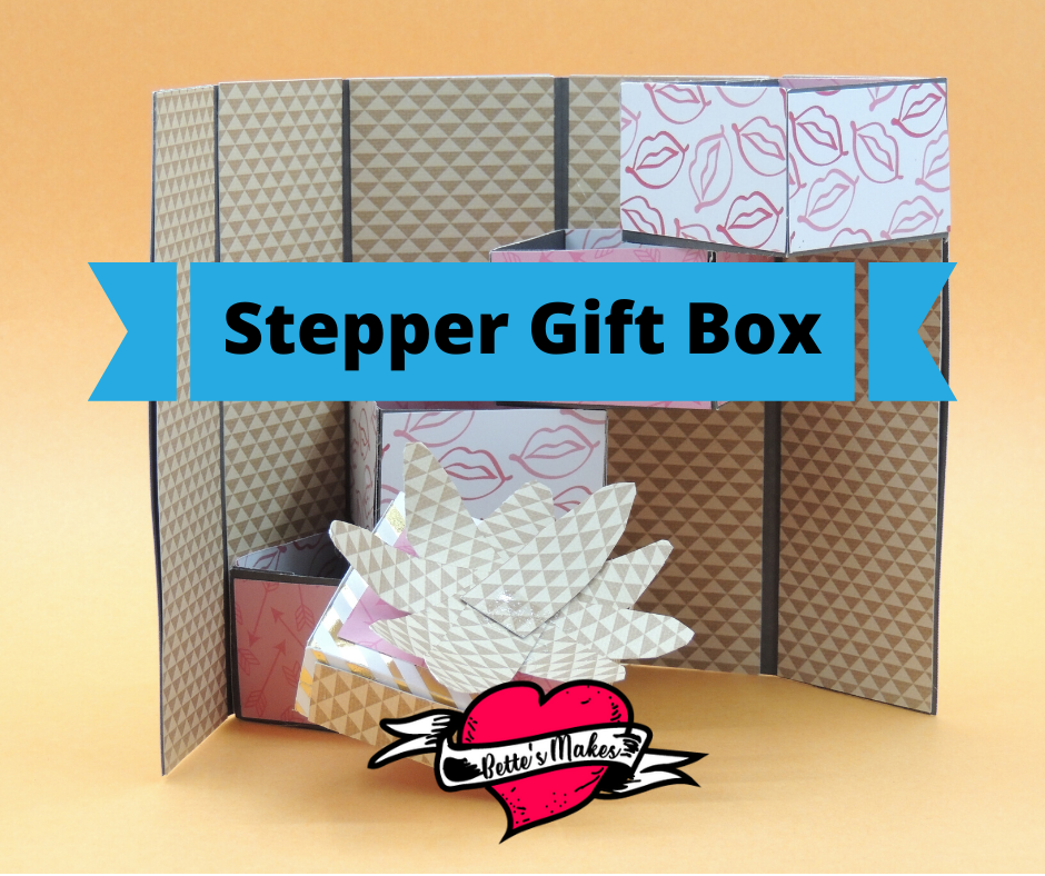Get the template and make this incredible stepper gift box. So easy to make and yet complex at the same time. The template and directions are free in this article! #Cricut #cricutproject #cricutcraft #papercraft #box #giftbox