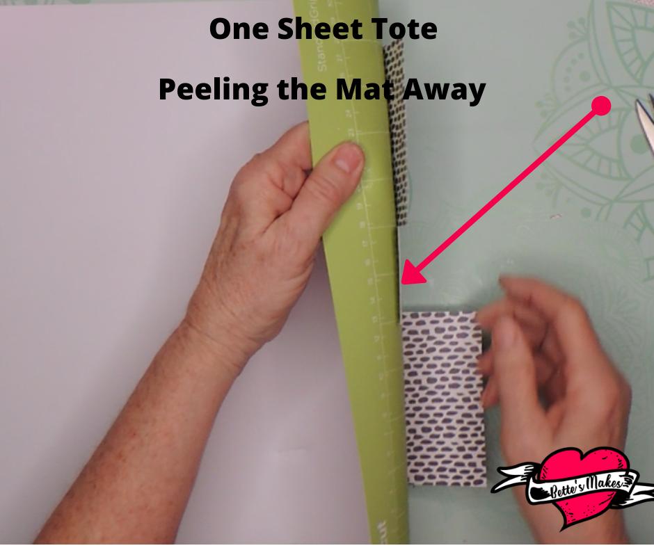 One Sheet Tote Peeling the Mat Away fom BettesMakes
