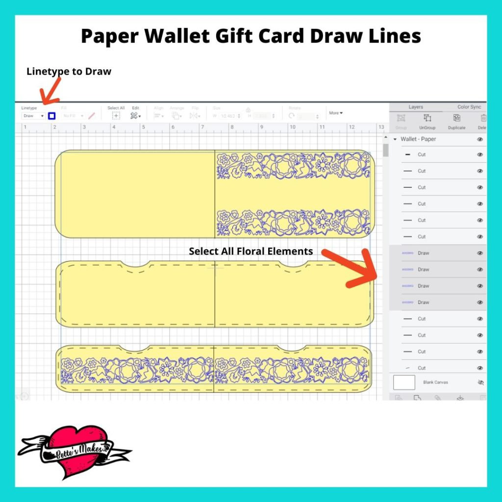 Paper Wallet Gift Card Floral Elements