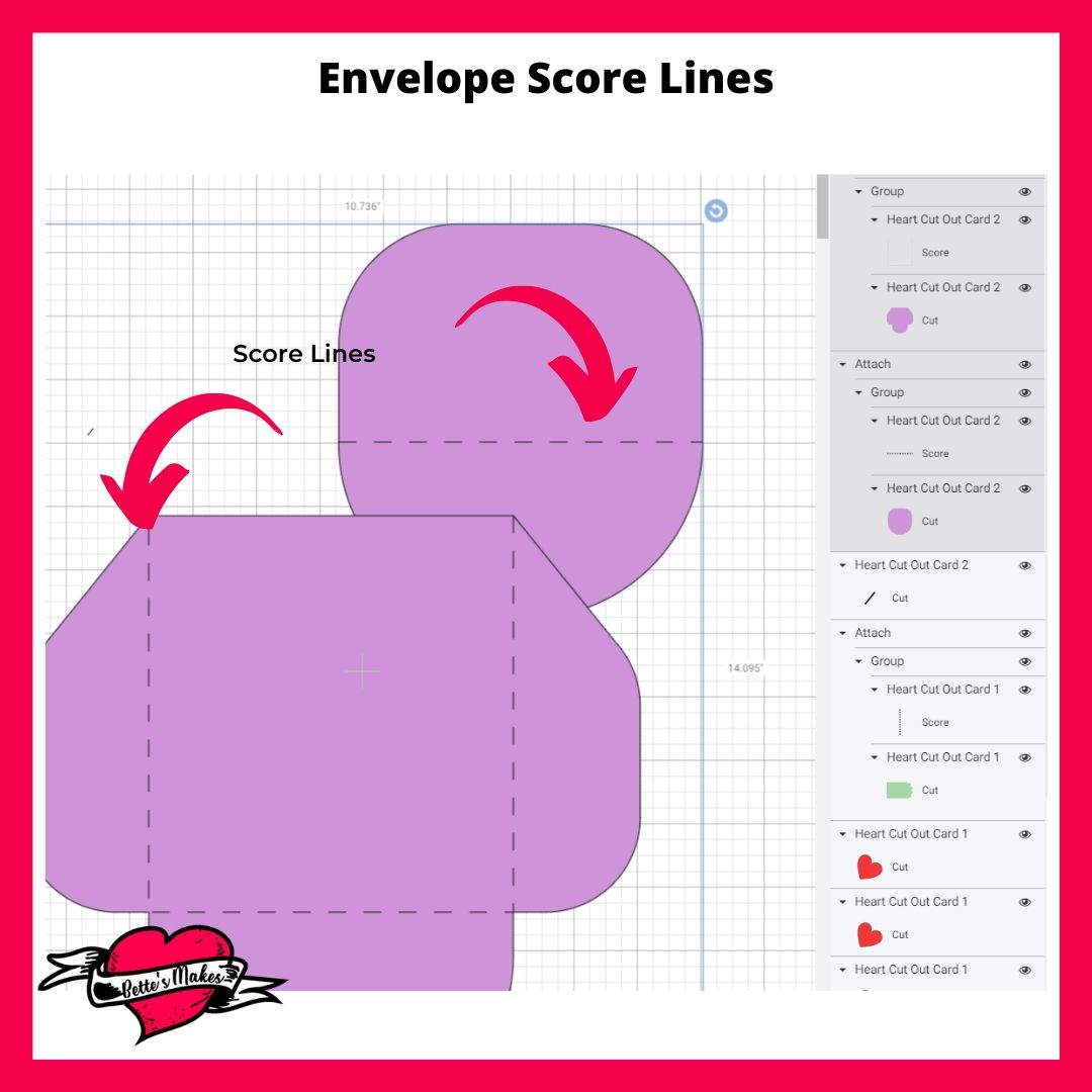Heart Card Envelope Score Lines
