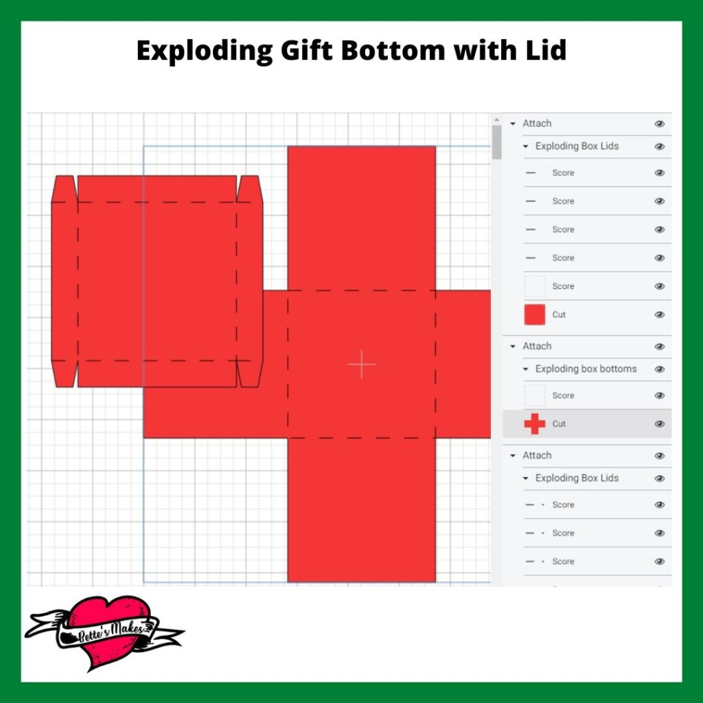 Exploding Gift Box Bottom with Lid