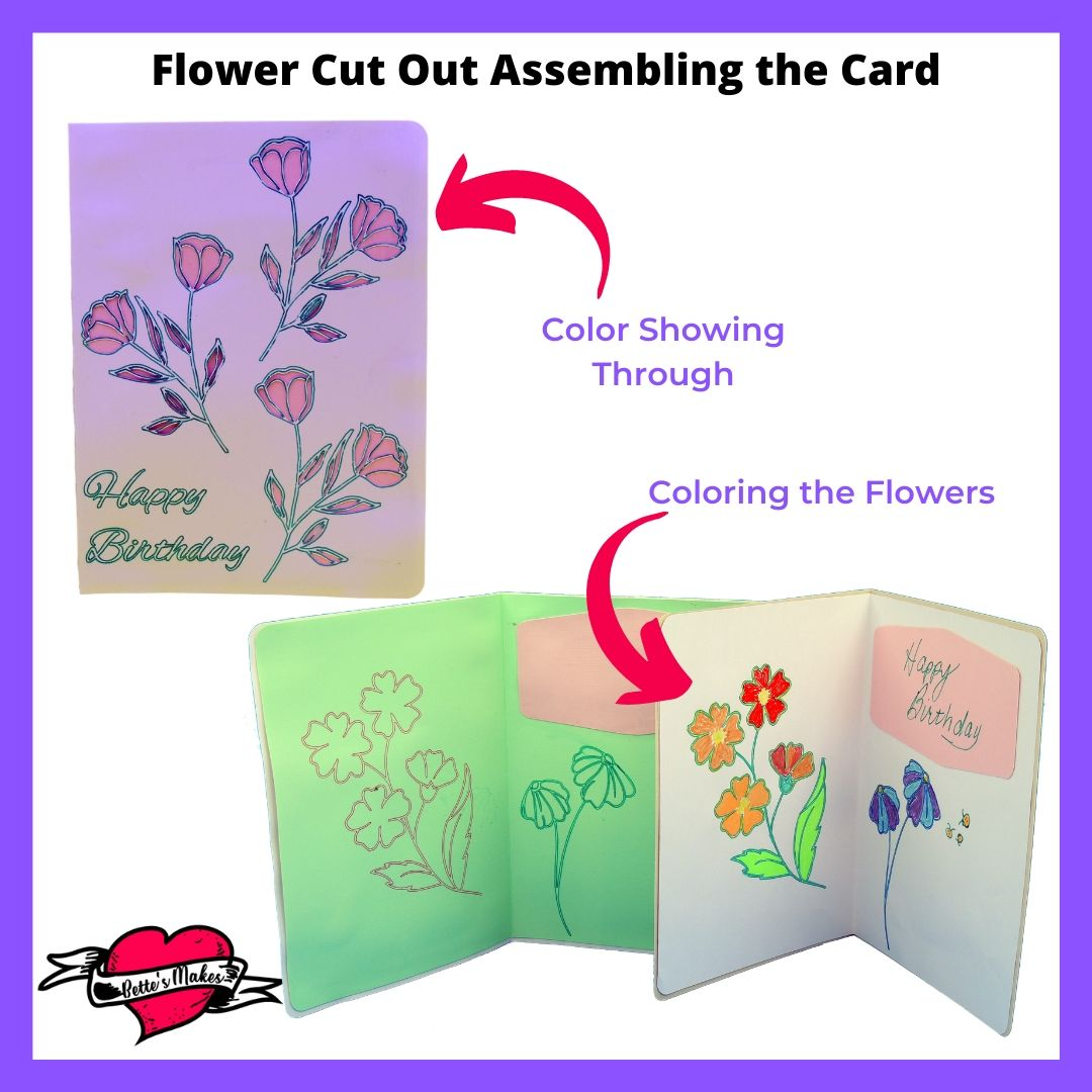 Flower Cut Out Card Assembling the Card