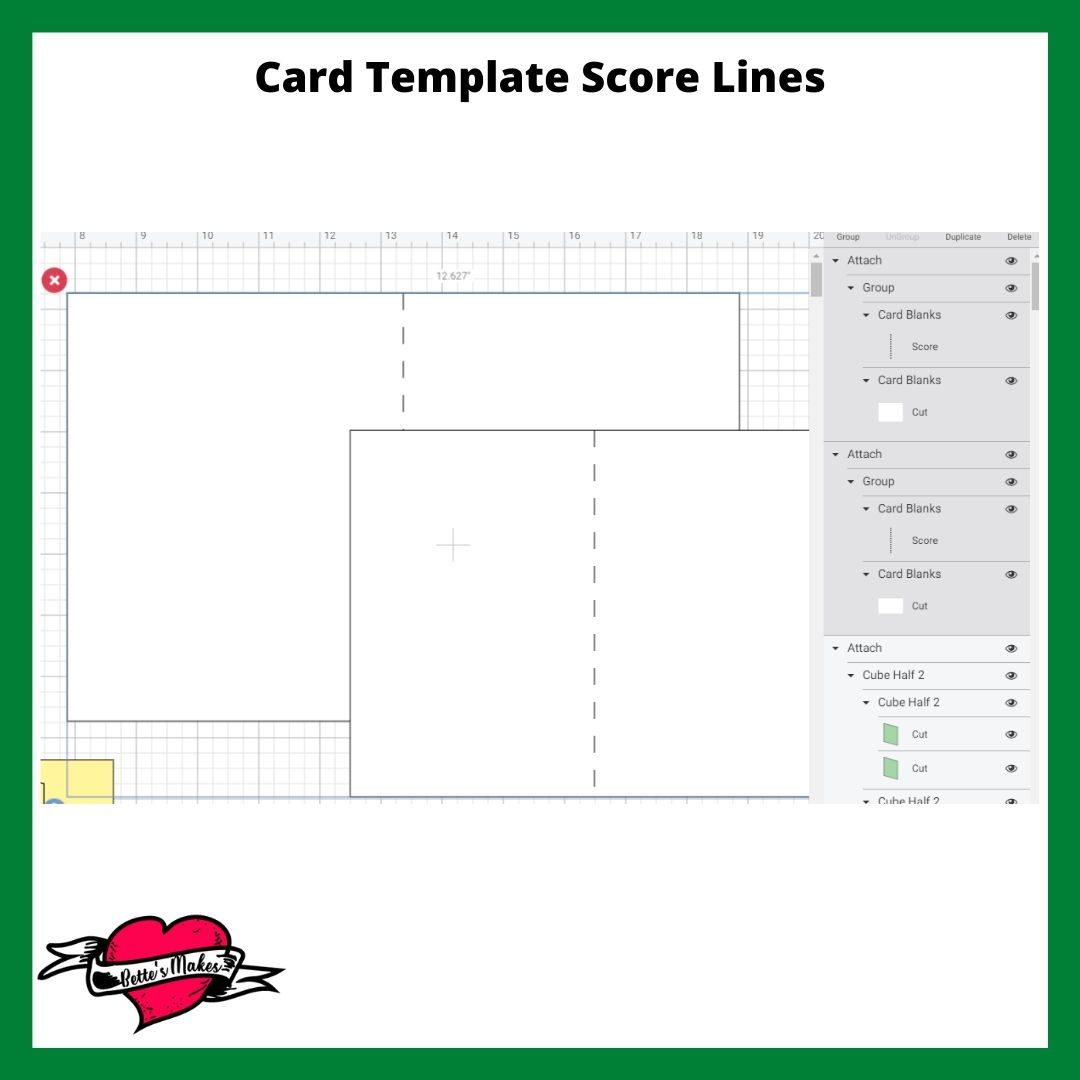 Stencil and Card - Card Template Score Lines